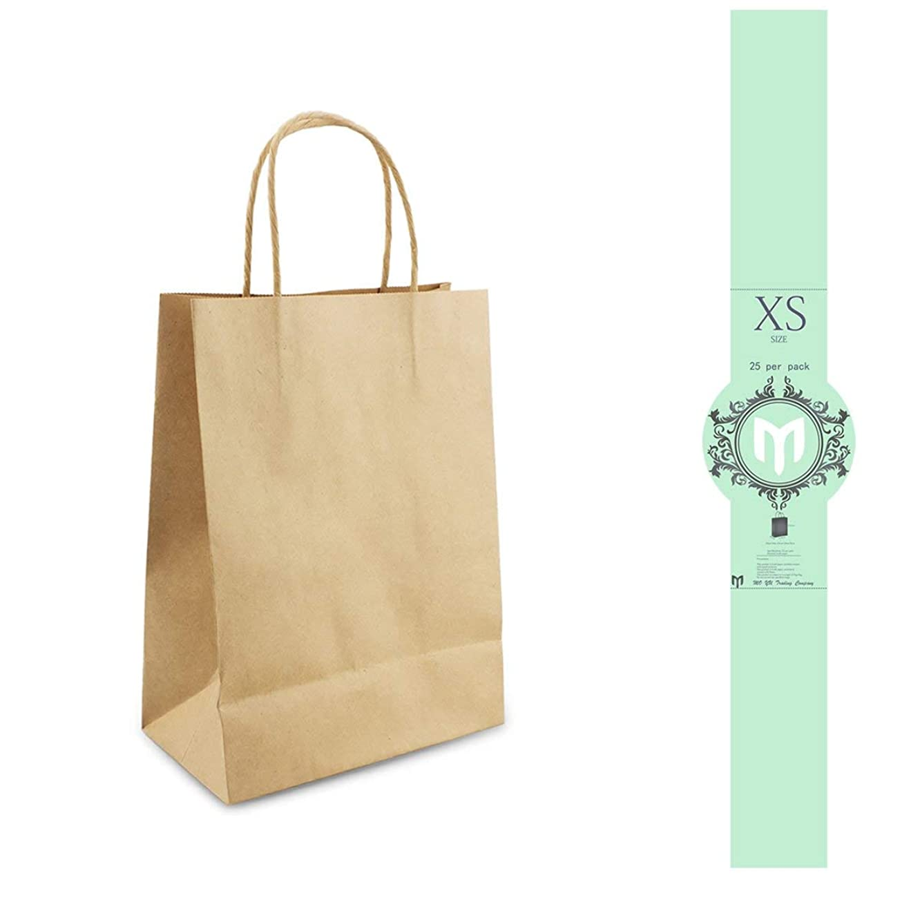 9x7x3.5'' Kraft Paper Bags 25,50,100 Pack Recycling FSC Certified for Lunch,Bread,Shopping Bag with Handle (50, x Small)