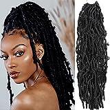 Butterfly Locs Crochet Hair - Faux Locs 18 Inch 7 Packs Long Distressed Locs Crochet Hair For Black Women Crochet Braids Soft Locs Pre Looped Synthetic Braiding Hair Extension (18 Inch, 1B)