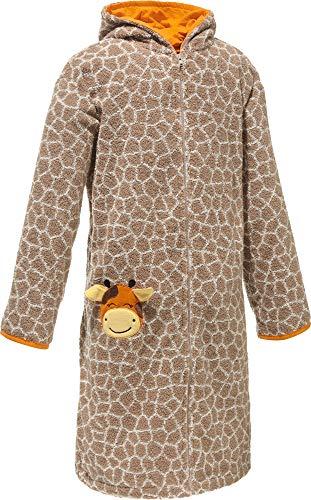 Erwin Müller Kinder-Bademantel mit Kapuze Giraffe Walk-Frottier Hellbraun/Natur Größe 110/116 - mit Taschen und Reißverschluss, weich, saugstark, strapazierfähig