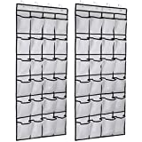 Kootek 2 Pack Over The Door Shoe Organizers, Mesh Shoe Holder 24 Pockets Hanging Shoes Organizer Compartment Storage with 8 Door Hooks for Bedroom Closet Bathroom 59 x 21.6 (White, 2)