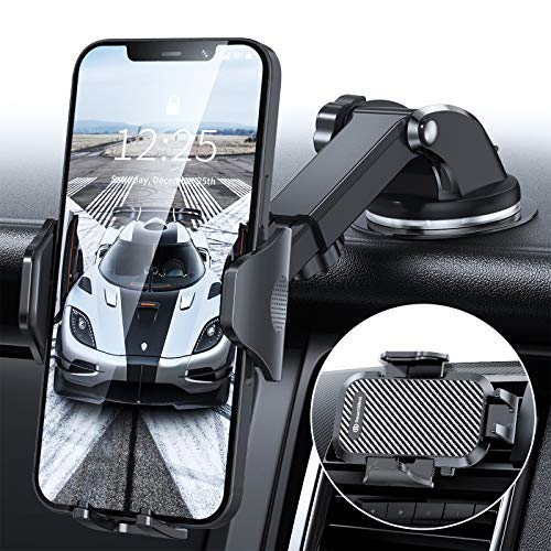 DesertWest Cell Phone Holder Upgrade Dashboard Car Mount Strongest Ultimate Protection Windshield Air Vent Universal Compatible with iPhone 12 11 Max Pro X XS Max XR 8 7, Samsung Galaxy S20 All Phones