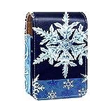 ColorMu Estuche para lápiz Labial Estuche para Maquillaje con Espejo Copos de Nieve Frescos Decorativos Azul Invierno Copo de Nieve