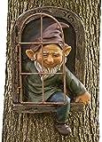 Enano de Resina 3D Adornos de Jardín Estatua Miniatura Divertidas 15cm Figura de Gnomo con Sonrisa para Decoración Jardín Exterior árboles Resina Natural (Verde-Hombre)