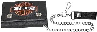 Men's Embroidered B&S Trucker Medium Biker Wallet XML4328-ORGBLK