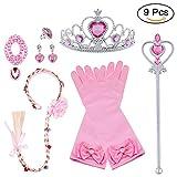Vicloon Principessa Dress Up 9 Pezzi Accessori per Ragazze Braid Diadema Varita Magic Collana Anello Orecchino Guanti per Festa di Compleanno Carnevale Cosplay Party