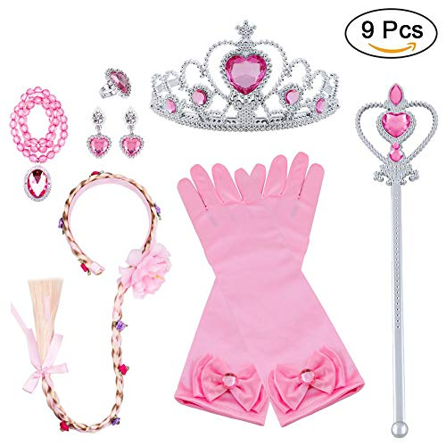 Vicloon Principessa Dress Up 9 Pezzi Accessori per Ragazze Braid Diadema Varita Magic Collana Anello Orecchino Guanti per Festa di Compleanno Carnevale Cosplay Party