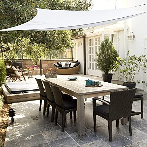 DANWU Toldo Vela de Sombra 3x5m Cuadrado Se instala fácil Resistente Pantalla para Balcón para Dar Sombra a su Jardín, Blanco