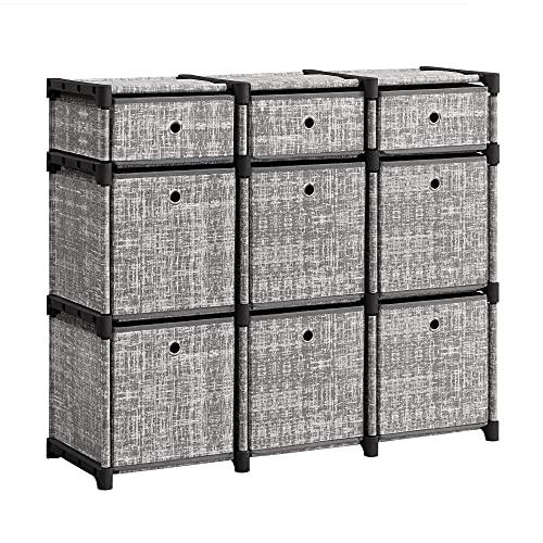 SONGMICS Scaffale a 9 Cubi, Mobile Organizzatore, Cassettiera Portaoggetti, Libreria, 83,5 x 30 x 79,5 cm, per Camera da Letto, Soggiorno, Ingresso, Grigio Granite LSN603G12
