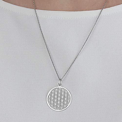 SCHOSCHON Damen Halskette Lebensblume Anhänger 925 Silber ø 25 mm // Blume des Lebens Silberkette Kette Schmuck Geschenk Mutter