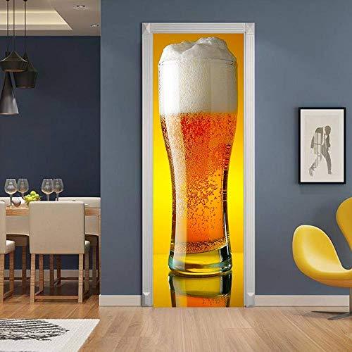 Adesivo Per Porte In Carta Da Parati Murale Adesivo Per Porte 3D Boccale Di Birra Giallo Carta Da Parati Autoadesiva In Pvc 3D Adesivo Per Porta Decorazione Domestica Fai Da Te 77 * 200 Cm