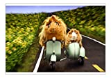 A1 Poster of Guinea Pigs Riding a Motor Scooter and Side Car (19988407)