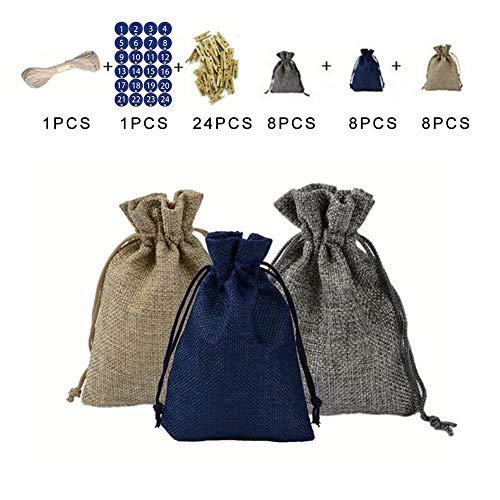 Paradesour 24 piezas de bolsa de tela artesanal de calendario de adviento de navidad, 1-24 pegatinas de números de adviento de cuenta regresiva, bolsas de regalo de navidad, kit de nice-looking