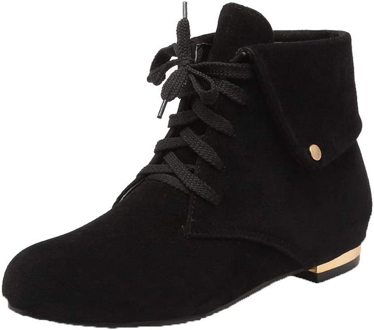AllhqFashion Women's Ankle-High Solid Lace-Up Round-Toe Low-Heels Boots, FBUXD120352