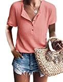 Summer Tops for Women Short Sleeve V Neck Soft Comfy Waffle Knit Tunic Coral L