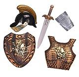 Lvbeis Child'Armadura Caballero Medieval-Casco,Espada,Escudo,Guardamanos de Armadura,Coraza para Niños Guerrero Cosplay,Gold