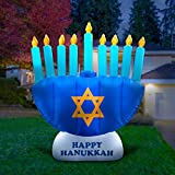 Holidayana Hanukkah Menorah Inflatable Decoration - 8 ft Hanukkah Menorah Inflatable Yard Decor with Built-in Bulbs, Tie-Down Points, and Powerful Built in Fan