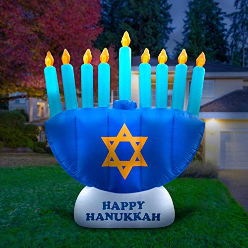 Holidayana Hanukkah Menorah Inflatable Decoration - 8 ft Hanukkah Menorah Inflatable Yard Decor with Built-in Bulbs, Tie-Down Points, and Powerful Built in Fan