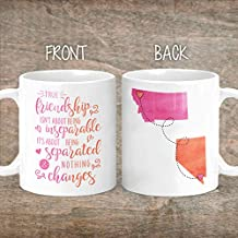 Friendship Long Distance Coffee Mug - Bestie - States - Moving Away Gift for Good Friends - Best Friend - Women - I Miss You - Bestfriend - Valentines Day Gifts - Bff - Christmas Gifts - M0402
