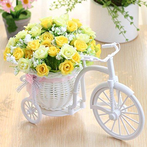 SANGDA Cesta de flores artificiales para bicicleta, triciclo de ratán, triciclo de plástico, color blanco, para decoración de jardín