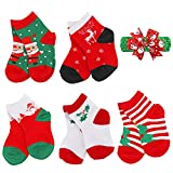 Girls Boys Christmas Socks Kids Children Toddler Baby Christmas Holiday Socks 5 Pairs (M(4-6t),Assorted 1)