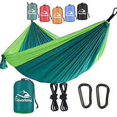 Camping Hammock for Hiking, Backpacking, Travel, Beach, Yard - Lightweight & Portable with Straps & Steel Carabiners Nylon (Green)