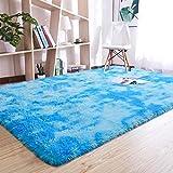 Beglad Shaggy Area Rugs, Fluffy Carpet for Kids Bedrooms, Extra Comfy Nursery Rugs Floor Carpets Boys Girls Fuzzy Shag Rug Home Decor Rug, 4 ft x 5.9 ft, Blue