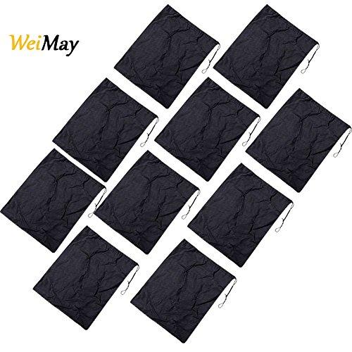 WeiMay 10 bolsas de textil suave no tejido con cordón para zapatos y viajes, material aterciopelado, negro, 36 x 28.5cm