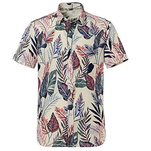 ARbuliry Männer Baumwolle Freizeithemden Blumen Kurzarmhemd Revers Hawaii Lose Oberteile Vollknöpfe Strandkleidung Urlaub Tägliche Freizeitkleidung