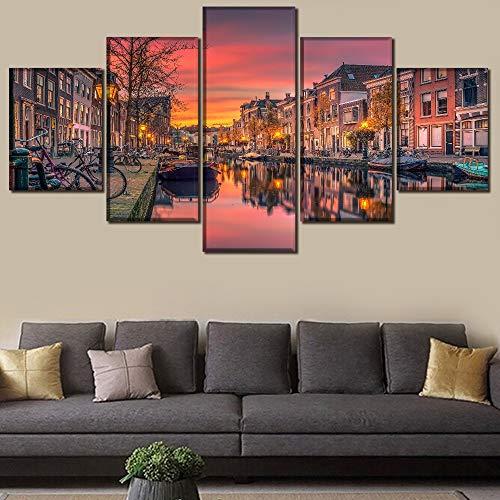 HOMOPK 5 Canvas afbeelding Landschap Hemel Nederlands kanaal 5-delig muurschildering achtergrond muur schilderen behang druk poster keuken decor poster gift 20x35cmx2 20x45cmx2 20x55cmx1 frame.