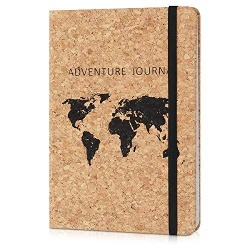 Navaris Cuaderno con cubierta de corcho - Diario de viaje ecológico - Libreta a rayas - Bloc de notas para el hogar u oficina - Diseño de mapamundi
