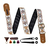 M33 Guitar Strap Vintage Woven Collection Strap Set For Acoustic and Electric Guitars Include STRAP BUTTON + LOCKS+3PICKS BEST STRAP BUNDLE