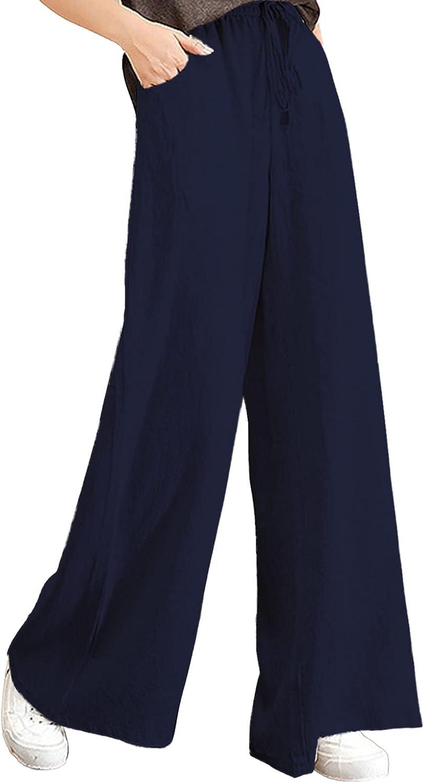 NEGJ Cotton Pants for Women Solid Pa Color Drawstring favorite Max 88% OFF Waist Mid
