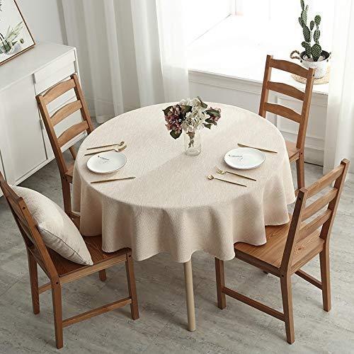 Verdickte Tischdecke Große runde Baumwolle Leinen Stoff Art MéNage Europäische Runde Kleine Amerikanische Einfarbige Runde Tisch Esstisch Runde Tischdecke Runde Tischdecke Durchmesser130cm Beige