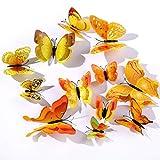 12 Pezzi Farfalle Adesivi Murali,3D Adesivi Murali da Parete per Casa,Camera dei Bambini e Stanza delle Ragazze-Giallo