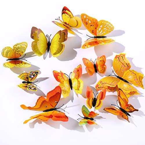 Derbway 12 Pezzi Farfalle Adesivi Murali,3D Adesivi Murali da Parete per Casa,Camera dei Bambini e Stanza delle Ragazze-Giallo