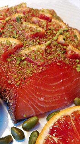 Lachs gebeizt (Graved) mit Gin, Orange und Pistazien 1.1kg ✔ Mit frischen Kräutern und Bio Zitrusfrüchen in eigener Manufaktur hergestellt