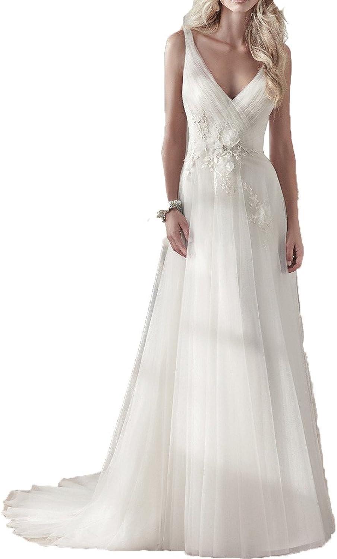 MILANO BRIDE Romantic Beach Wedding Dress Vneck Backless Aline Tulle Flower