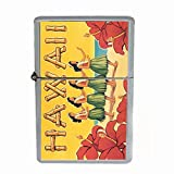 Perfection In Style Wind Proof Dual Torch Refillable Lighter Vintage Hawaiian Art Design 010