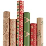 RUSPEPA Christmas Wrapping Paper - Brown Kraft Paper with Red and Green Pattern for -Christmas Elements Collection-6 Roll-30Inch X 10Feet Per Roll