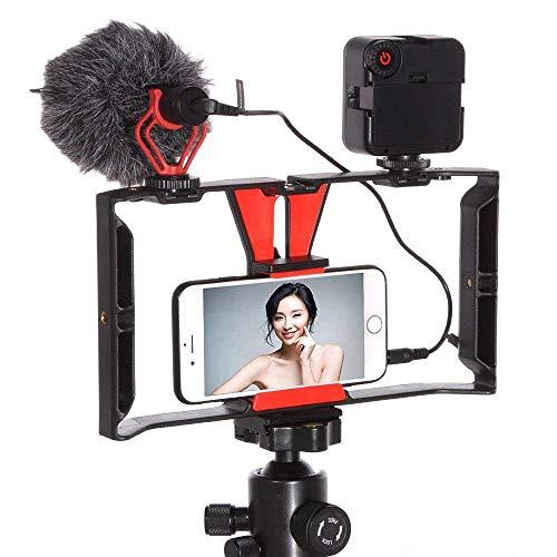 Fotga Soporte estabilizador de cámara de vídeo para smartphone con micrófono BOYA by-MM1 + 49 luces LED Kit para teléfono móvil, iPhone, películas y videojuegos profesionales