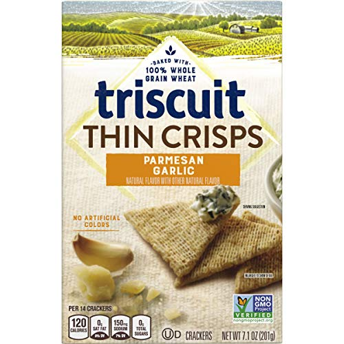 Triscuit Thin Crisps Parmesan Garlic Crackers, Non-GMO, 7.1 oz (Pack of 6)