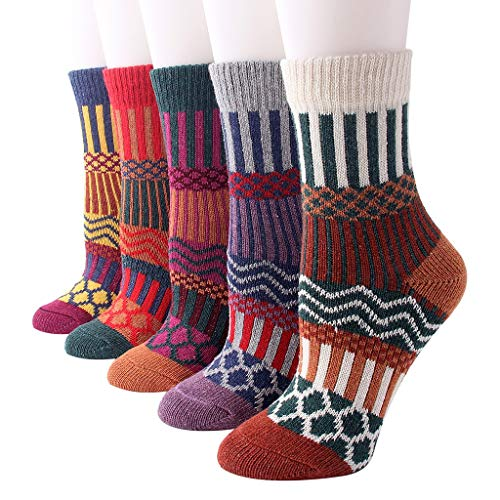 5 Packs Womens Wool Socks Cold Weather Vintage Soft Warm Socks Thick Knit Cozy Winter Socks for Women