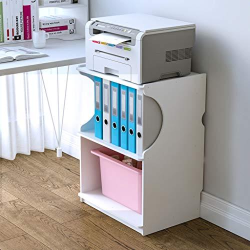 Printer Stands 3-Tier Printer Stand Wooden Shelf Desktop Floor Office Bookshelf Side Table Home Copier Storage Rack, White Mobile Printer Cart