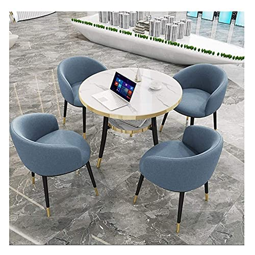 ファッションダイニングテーブルとチェアセット ダイニングテーブルと椅子の組み合わせラウンジオフィスホテルレセプション1表4椅子の2層デザイン省スペースコットンリネンチェア スペースダイニングテーブルセット