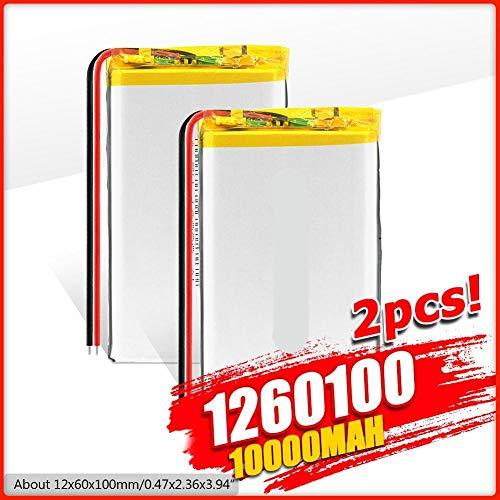 N 3.7v 10000mah Batería Lipo 1260100 Tableta Recargable DVD Tableta De Energía De Respaldo Ordenador PortáTil VehíCulo Recorrido Registrador De Datos e-Book 2xBattery