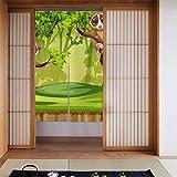 ジャングルドアカーテンに住むメガネザルの寝室、リビングルーム、レストラン、キッチン、パティオドアのプライバシー保護、34インチx 56インチのサーマルブラックアウトカーテン