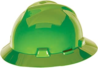 MSA 815570 V-Gard Slotted Full-Brim Hard Hat, with 4-Point Fas-Trac III Suspension, Standard, Bright Lime Green
