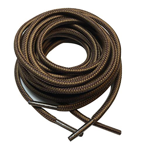 """3 pairs Heavy duty durable non slip round boot shoe laces shoelaces for hiking walking construction safety work (48"""" (120cm), Dark light/brown)"""