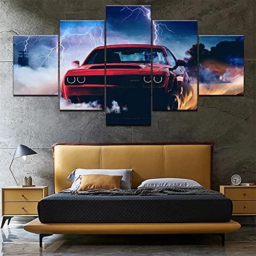 GUANGWEI 5 HD Lienzo sobre Lienzo Dios Coche Sala De Estar Dormitorio Decoración Creación Murales Y Carteles con Marco 150 × 80 Cm