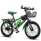 Bicicletas para niños de 22 Pulgadas de 7 a 15 años niños sin Ruedas auxiliares, Estilo: Velocidad Variable de Lujo Sunshine20 (Color : Black Green)